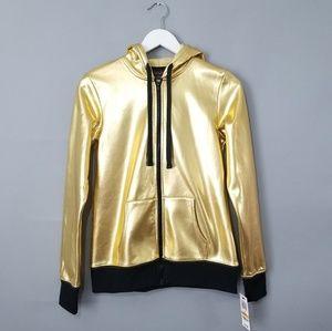 Material Girl Active Gold Metallic Zip Up Hoodie
